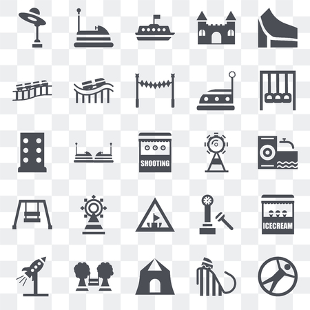 Set Of 25 transparent icons such as Zorbing, Ride, Shooting, Playground, Rocket, Amusement park, Ferris wheel, Hook, Roller coaster, Tea cup, Bumper car, web UI transparency icon pack