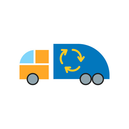 Garbage truck icon vector isolated on white background for your web and mobile app design, Garbage truck logo concept