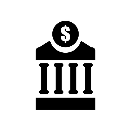 Bank building icon vector isolated on white background for your web and mobile app design, Bank building logo concept