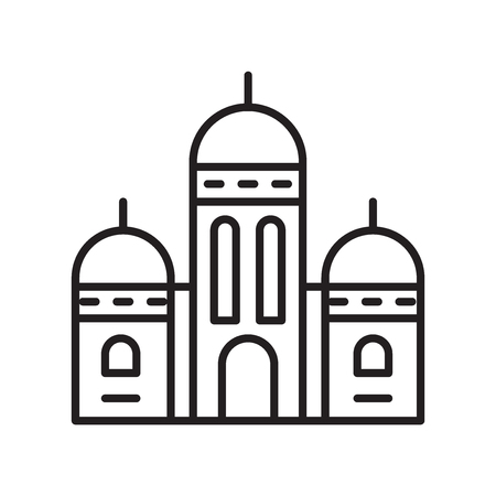 Sacre coeur icon vector isolated on white background, Sacre coeur transparent sign , thin line design elements in outline style