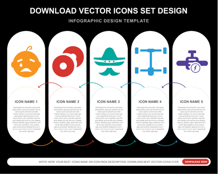 5 vector icons such as Crying baby, CD Record, Mexican hat and mustache, Car wit Chassis, Engine with Lighting Bolt for infographic, layout, annual report, pixel perfect icon