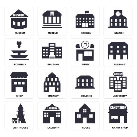 Set Of 16 icons such as Candy shop, House, Laundry, Lighthouse, University, Museum, Fountain, Shop, Music, web UI editable icon pack, pixel perfect