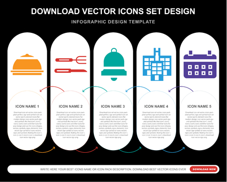 5 vector icons such as Meal, Cutlery, Bell, Hotel, Calendar for infographic, layout, annual report, pixel perfect icon