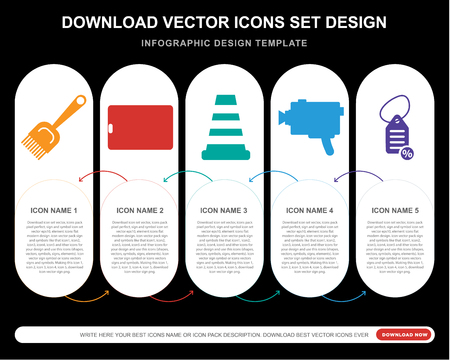 5 vector icons such as Paint brush, Tablet, Cone, Super 8, Tag for infographic, layout, annual report, pixel perfect icon