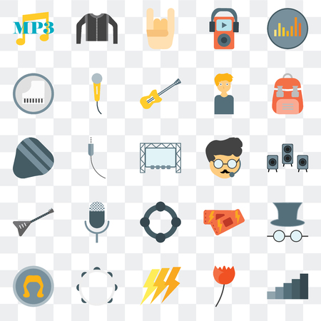Set Of 25 transparent icons such as Steps, Rose, Ray, Tambourine, Wig, Backpack, Bodyguard, Guitar, Piano, Hand, Leather jacket, web UI transparency icon pack