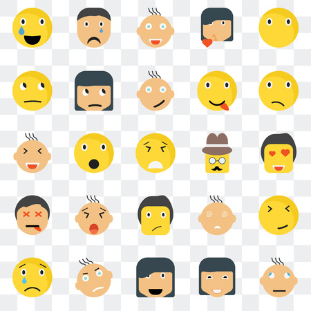 Set Of 25 transparent icons such as Confused smile, In love Crying Sad Sceptic Faint Smiling web UI transparency icon pack, pixel perfect