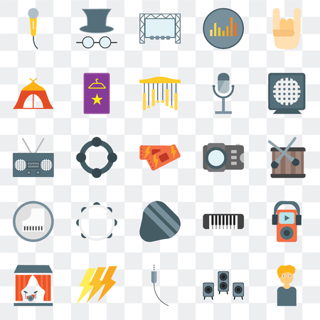 Set Of 25 transparent icons such as Man, Speaker, Audio jack, Ray, Stage, Photo camera, Guitar pick, Piano, Tent, Big screen, Hat and glasses, web UI transparency icon pack Иллюстрация