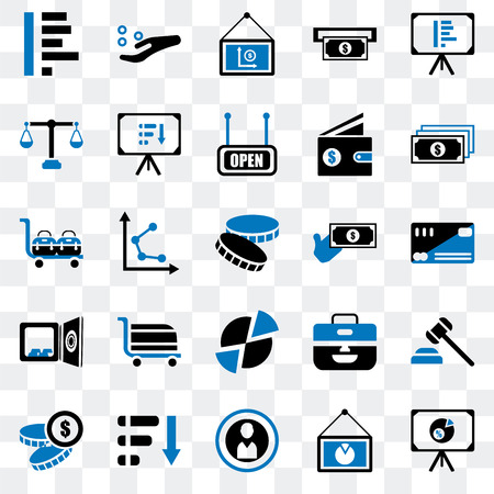 Set Of 25 transparent icons such as Presentation, Coin, Pie chart, Notes, Money, Safebox, Justice scale, Get money, web UI transparency icon pack
