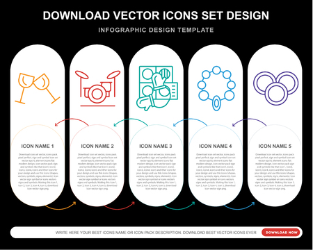 5 vector icons such as Toast, Drum set, Baking, Bead, Coins for infographic, layout, annual report, pixel perfect icon Illustration