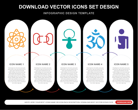 5 vector icons such as Atomic structure, Disconnected chains, Baby Pacifier, Pranava OM, Man with arm injury for infographic, layout, annual report, pixel perfect icon
