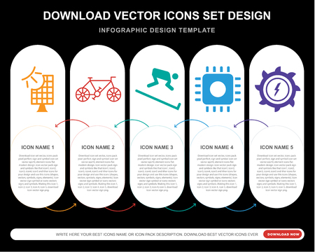 5 vector icons such as Frontal solar panel, Old Bicycle, Skiing down hill, Computer microprocessor, Hydro power generation for infographic, layout, annual report, pixel perfect icon Illustration