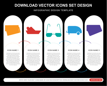 5 vector icons such as Boarding pass, Yatch, Sunglasses, Caravan, Postcard for infographic, layout, annual report, pixel perfect icon