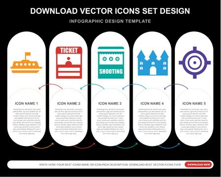 5 vector icons such as Tea cup, Ticket office, Shooting, Bouncy castle, Target for infographic, layout, annual report, pixel perfect icon