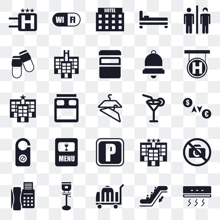 Set Of 25 transparent icons such as Air conditioner, Escalator, Room service, Stool, Telephone, Hotel, Cocktail, Parking, Doorknob, Slippers, Wifi, web UI transparency icon pack