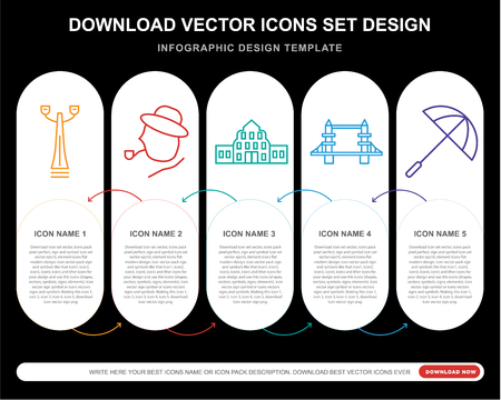 5 vector icons such as Street lamp,   Buckingham, Tower bridge, Umbrella for infographic, layout, annual report, pixel perfect icon Illustration
