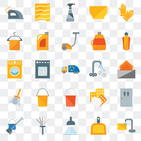 Set Of 25 transparent icons such as Soak, Dustpan, Shower, Feather duster, Mop, Dishwasher, Washing plate, Bucket, Feather, Towel, Cleaning spray, Drying, web UI transparency icon pack 向量圖像