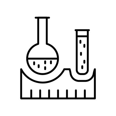 Vecteur d'icône de fiole isolé sur fond blanc, signe transparent de fiole, éléments de conception de fine ligne dans le style de contour