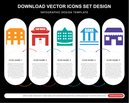 5 vector icons such as Building, Car wash, Town hall, Bank, Cafe for infographic, layout, annual report, pixel perfect icon 矢量图像