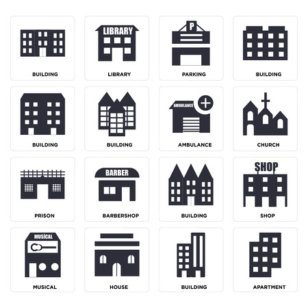 Set Of 16 icons such as Apartment, Building, House, Musical, Shop, Prison, Ambulance, web UI editable icon pack, pixel perfect Illustration