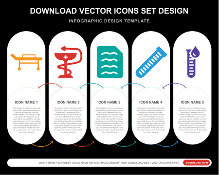 5 vector icons such as Stretcher, Medicine, Diagnosis, Test tube, Blood test for infographic, layout, annual report, pixel perfect icon