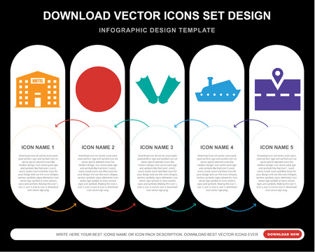 5 vector icons such as Hotel, Beach ball, Flippers, Yatch, Map for infographic, layout, annual report, pixel perfect icon