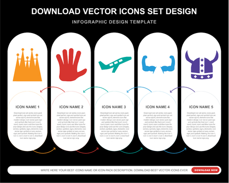 5 vector icons such as  Familia building, Five fingers, Plane taking off, Biceps of a man, Viking helmet for infographic, layout, annual report, pixel perfect icon