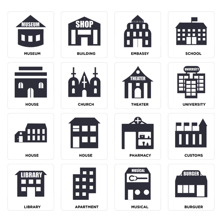 Set Of 16 icons such as Burguer, Musical, Apartment, Library, Customs, Museum, House, Theater, web UI editable icon pack, pixel perfect