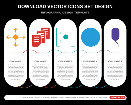 5 vector icons such as Allocation, Files, Avatar, Mouse for infographic, layout, annual report, pixel perfect icon Illustration