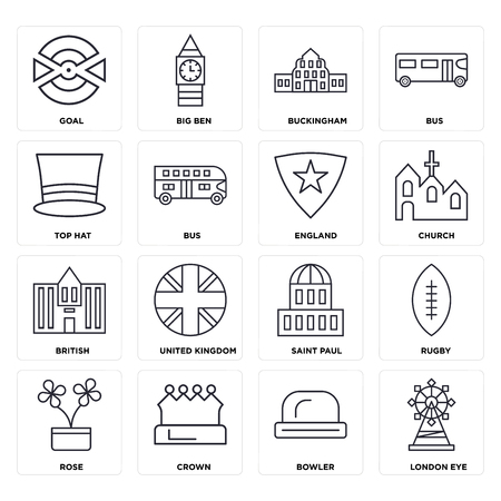 Set Of 16 icons such as London eye, Bowler, Crown, Rose, Rugby, Goal, Top hat, British, England, web UI editable icon pack, pixel perfect