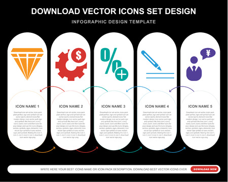 5 vector icons such as Diamond precious stone, Dollar, More percentage plus button, Pen writing a, Businessman talking about yen for infographic, layout, annual report, pixel perfect icon