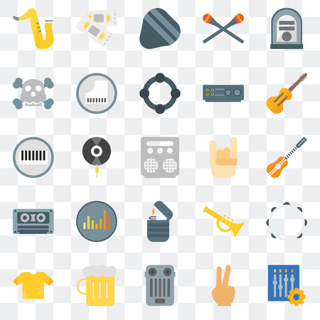 Set Of 25 transparent icons such as Settings, Peace, Guitar pedal, Beer, Shirt, Cello, Maloik, Lighter, Cassette tape, Skull, pick, Ticket, web UI transparency icon pack
