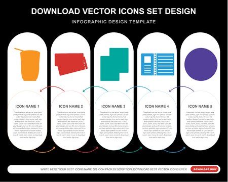 5 vector icons such as Smoothie, Boarding pass, Passport, Postcard, Hotel for infographic, layout, annual report, pixel perfect icon