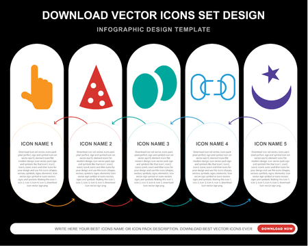 5 vector icons such as Finger up, Triangular Pizza slice, Two Eggs, Disconnected chains, Islamic crescent with small star for infographic, layout, annual report, pixel perfect icon