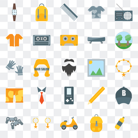 Set Of 25 transparent icons such as Foam, Accessory,   Gamepad, Garden, Picture,   Clothing, Short sleeves, Comb, Backpack, web UI transparency icon pack Illustration
