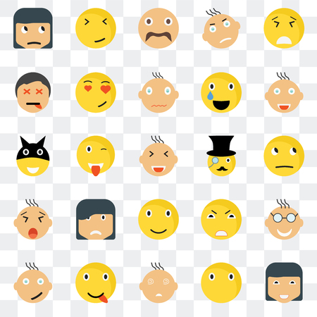 Set Of 25 transparent icons such as Happy smile, Thinking Joyful Faint In love Angry Superhero web UI transparency icon pack, pixel perfect Illustration