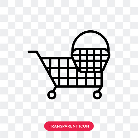 Shopping vector icon isolated on transparent background, Shopping logo concept