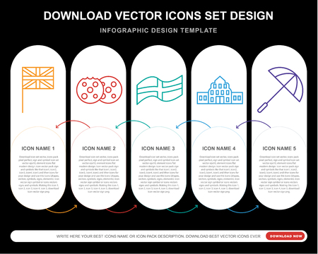 5 vector icons such as Union jack, Cookie, England, Buckingham, Umbrella for infographic, layout, annual report, pixel perfect icon Illustration
