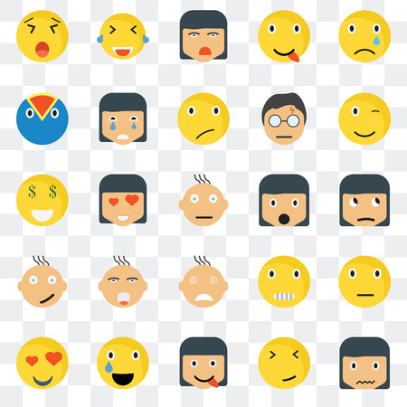 Set Of 25 transparent icons such as Sca smile, Sceptic Winking Laughing In love Crying Creepy Rich web UI transparency icon pack, pixel perfect 일러스트