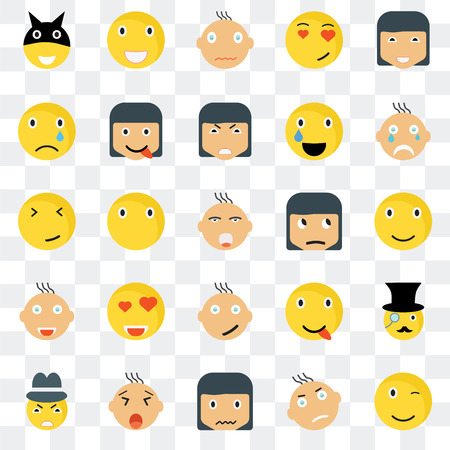 Set Of 25 transparent icons such as Winking smile, Smile Crying Laughing Gangster Happy Faint web UI transparency icon pack, pixel perfect