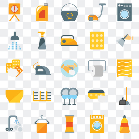 Set Of 25 transparent icons such as Dish soap, Laundry, Cleaner, Towel, Washing plate, Dusting, Toilet paper, Dish, Bowl, Shower, Dustpan, Bleach, web UI transparency icon pack
