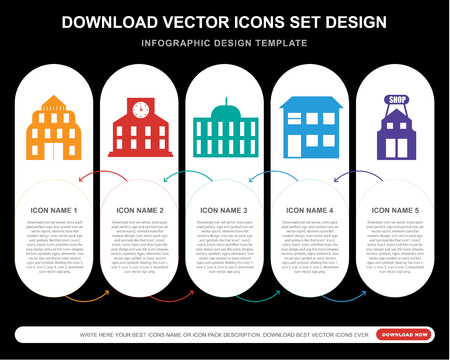 5 vector icons such as Embassy, Station, Building, House, Shop for infographic, layout, annual report, pixel perfect icon