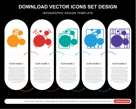 5 vector icons such as Karaoke, Drone, Cards, Cinema, Chess board for infographic, layout, annual report, pixel perfect icon