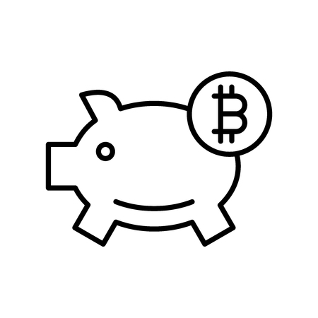 Piggy bank icon vector isolated on white background, Piggy bank transparent sign , thin line design elements in outline style