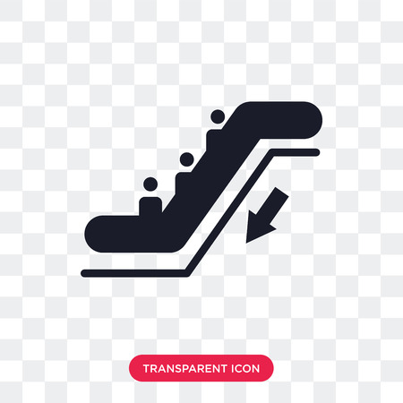 Escalator vector icon isolated on transparent background, Escalator logo concept