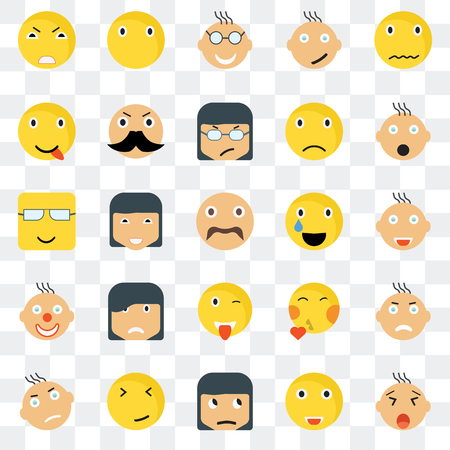 Set Of 25 transparent icons such as Yawning smile, Joyful Shocked Silent Angry Rich Kiss Nerd web UI transparency icon pack, pixel perfect