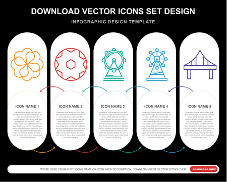 5 vector icons such as Rose, Football ball, London eye, Bridge for infographic, layout, annual report, pixel perfect icon Illustration