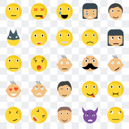 Conjunto de 25 iconos transparentes como Sick smile, Happy Skeptic Dead Faint Sca web UI transparencia paquete de iconos, píxeles perfectos