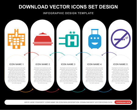 5 vector icons such as Hotel, Meal, Luggage, No smoking for infographic, layout, annual report, pixel perfect icon 向量圖像