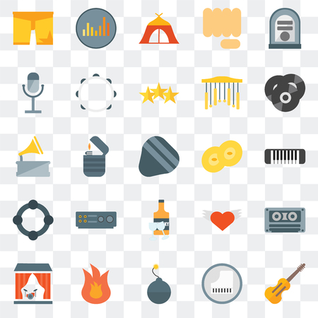 Set Of 25 transparent icons such as Cello, Piano, Bomb, Fire, Stage, Vinyl, Cymbals, Whisky, Tambourine, Microphone, Tent, Equalizer, web UI transparency icon pack