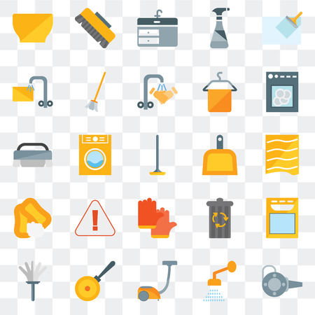 Set Of 25 transparent icons such as Blower, Shower, Vacuum, Pan, Feather duster, Dishwasher, Dustpan, Gloves, Soap, Soak, Sink, Brush, web UI transparency icon pack Vector Illustratie